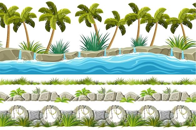 Nahtlose grenzen stein gehwege wasserfall gras