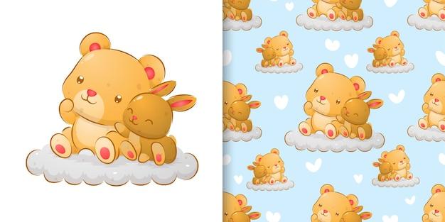 Nahtlose handzeichnung des bären und des kaninchens, die auf der wolkenillustration sitzen