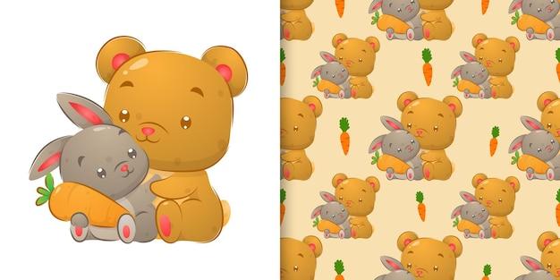 Nahtlose handzeichnung des bären und des kaninchens, die die karottenillustration halten