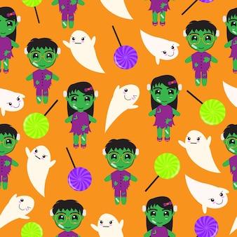 Nahtlose hintergrund der halloween-illustration mit niedlichen zombies, süßigkeiten und ghost auf orange hintergrund geeignet für schrott papier, tapeten und postkarte