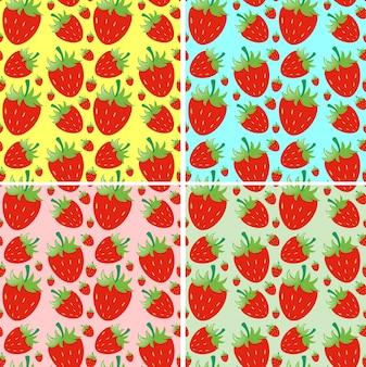 Nahtlose hintergrund design mit frischen erdbeeren