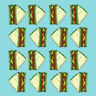 Nahtlose hintergrundbeschaffenheit des sandwichschnellimbissdesignmusters