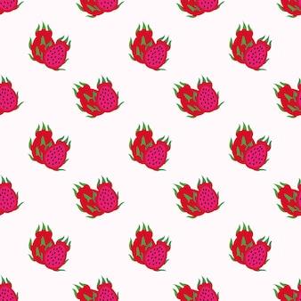Nahtlose hintergrundbild bunte tropische frucht rotes fleisch drachenfrucht pitaya