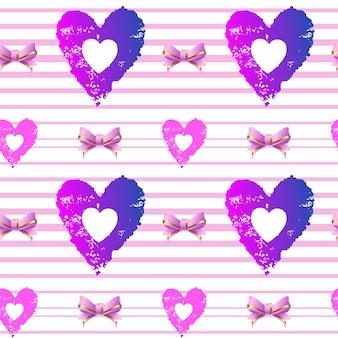 Nahtlose hintergrundherzen und rosa bänder auf einer gestreiften hintergrundvektorillustration