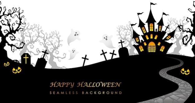 Nahtlose hintergrundillustration des glücklichen halloween mit spukhaus, friedhof und textraum.