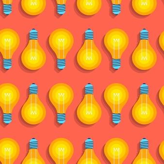 Nahtlose hintergrundmusterkonzeptidee mit glühbirnenikone. veranschaulichen.