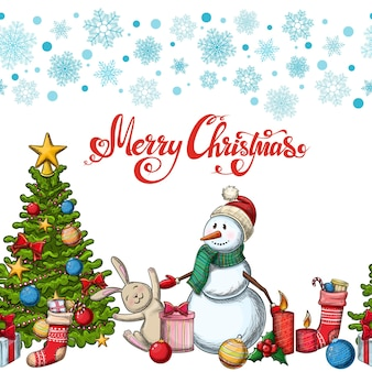 Nahtlose horizontale grenze mit weihnachtsikonen. bunte skizzenartweihnachtsillustration für dekoration.