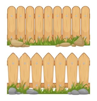Nahtlose horizontale hintergründe mit holzzäunen. vektorkarikaturabbildungen