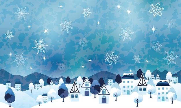 Nahtlose hügelige winterlandschafts-vektorillustration mit einem friedlichen dorf und textraum. horizontal wiederholbar.