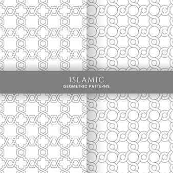 Nahtlose islamische arabische geometrische marokkanische muster-hintergrund-sammlung