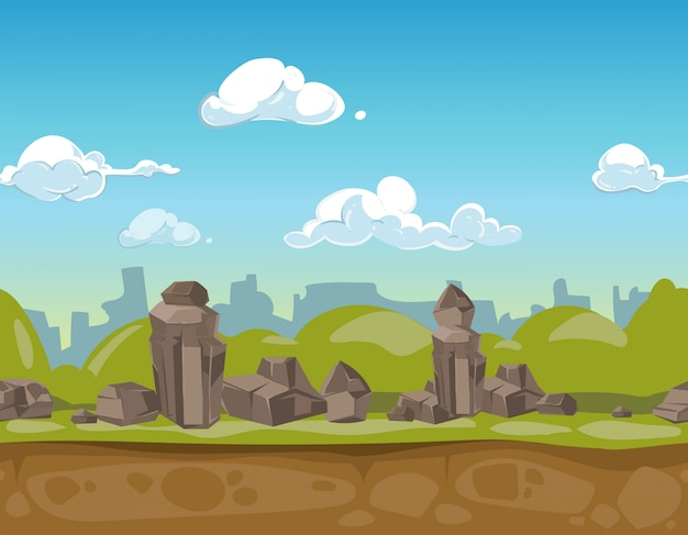Nahtlose karikaturparklandschaft für ui spiel