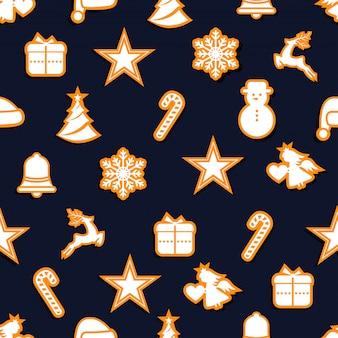 Nahtlose karte der frohen weihnachten mit elementikonenfahne. winter hintergrund vektor-illustration