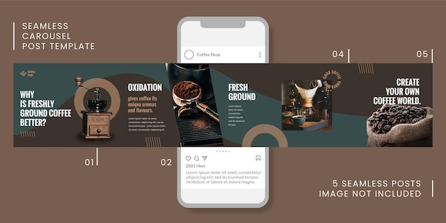 Nahtlose karussell-post-vorlage mit kaffeethema für soziale medien.