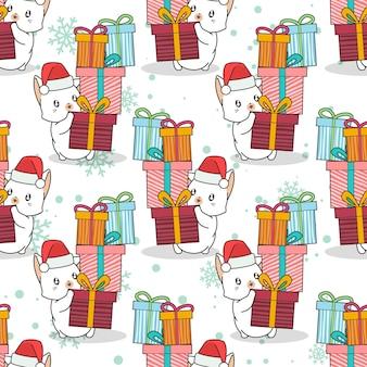 Nahtlose katze mit geschenkboxen-muster