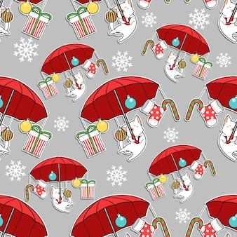 Nahtlose katze mit rotem regenschirm im weihnachtsmuster