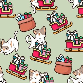 Nahtlose katze mit schlitten im weihnachtstagsmuster