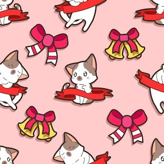Nahtlose katze und schleife im weihnachtsfeiermuster