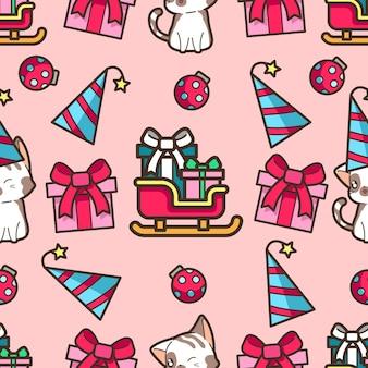 Nahtlose katze und schlitten im weihnachtsfeiermuster