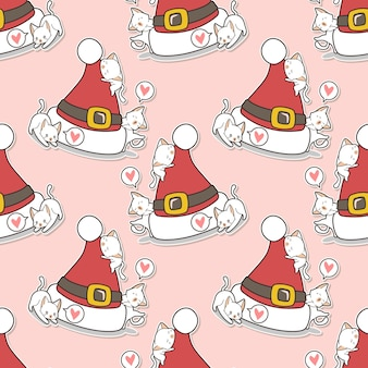 Nahtlose katzen mit weihnachtsmützenmuster