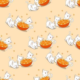 Nahtlose katzen und orangefarbenes muster