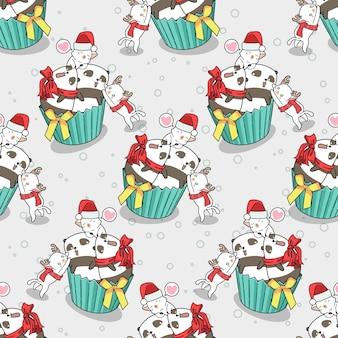 Nahtlose katzen und pandas im weihnachtstagsmuster