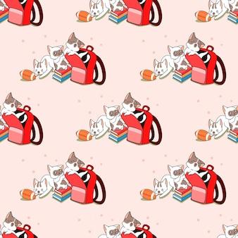 Nahtlose katzen zurück zum schulmuster