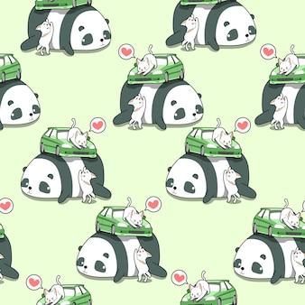 Nahtlose kawaii katzen mit auto auf muster des riesigen pandas.