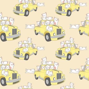 Nahtlose kawaii katzen mit auto im sommerferienmuster.