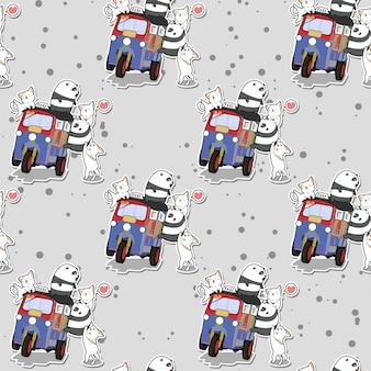 Nahtlose kawaii pandas und katzen mit bewegungsdreiradmuster