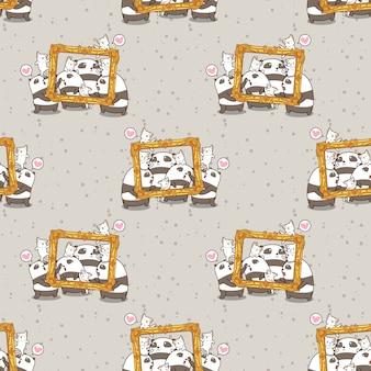 Nahtlose kawaii pandas und katzen mit einem luxusrahmenmuster