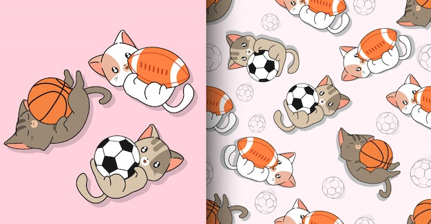 Nahtlose kawaii sportkatzencharaktere und 3 verschiedene bälle