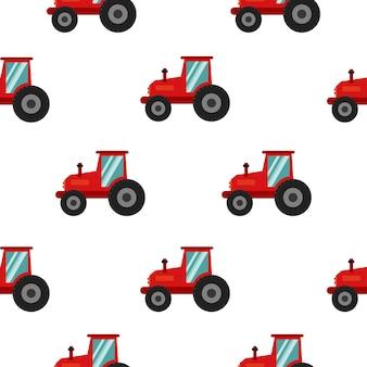 Nahtlose kindermuster mit traktoren im cartoon-stil vektorgrafiken