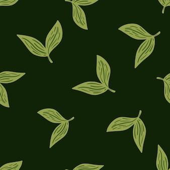Nahtlose kräutermuster der abstrakten art mit doodle-blatt-silhouetten. grüner dunkler hintergrund. blumenornament. vektorillustration für saisonale textildrucke, stoffe, banner, hintergründe und tapeten.