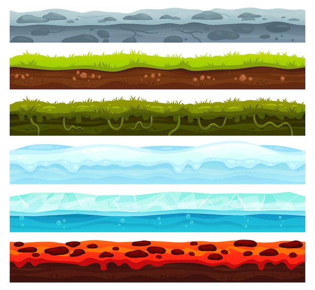 Nahtlose landebenen. dirt ground landscape game asset, eis mit schneekappen und lavaboden. cartoon oberflächenvektor vermögenswerte