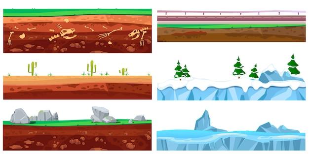 Nahtlose landschaftsbeschaffenheit der karikatur