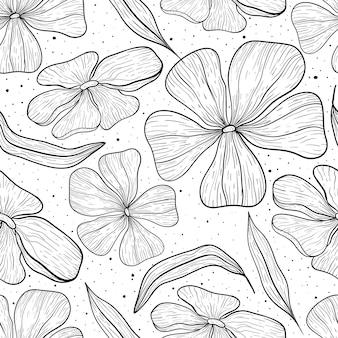 Nahtlose linie kunstmuster. schwarz-weiße blütenknospen, blütenblätter und blätter. gekritzelhintergrund mit flecken