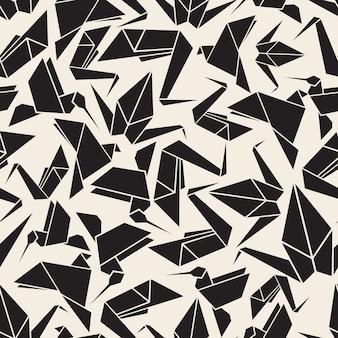 Nahtlose monochrome origami vogel muster hintergrund