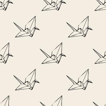 Nahtlose monochrome papier origami vogel muster hintergrund