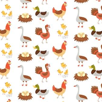 Nahtlose muster bauernhof vögel gänse ente huhn truthahn. sich wiederholender hintergrund mit rustikalem motiv. vektor-hand zeichnen papier, kinderzimmer-design-tapete