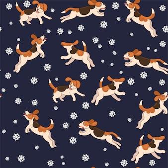 Nahtlose muster beagle-hunde fangen schneeflocken. grafik.