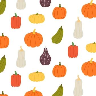 Nahtlose muster bunte kürbisse unterschiedliche form. halloween-hintergrund, thanksgiving-vektor