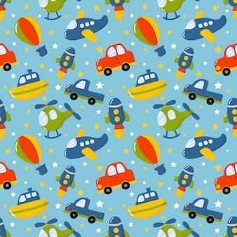 Nahtlose muster cartoon transportspielzeug. autos, boot, hubschrauber, rakete, ballon und flugzeug