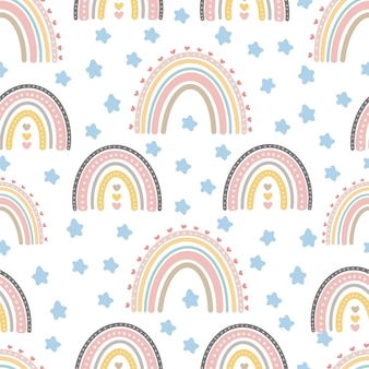 Nahtlose muster des niedlichen regenbogens kreativer kindischer druck für gewebe, das textiltapetenbekleidung einwickelt
