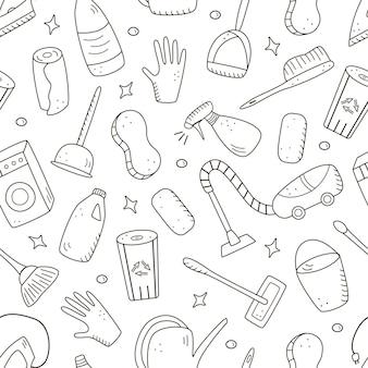 Nahtlose muster doodle-stil-vektor-reinigungselemente. eine reihe von zeichnungen von reinigungsprodukten und -gegenständen. zimmerreinigungsset.
