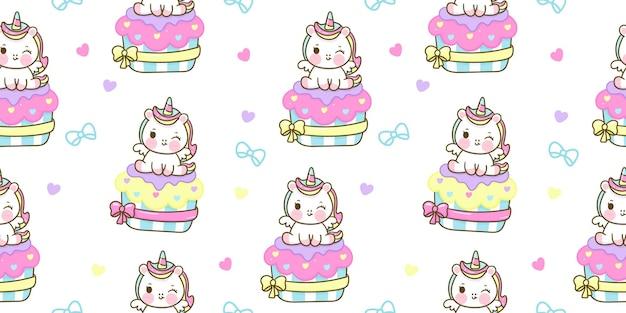Nahtlose muster-einhorn-karikatur sitzen auf pastell-cupcake-kawaii-tier
