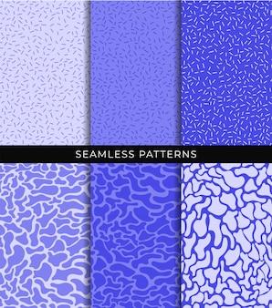 Nahtlose muster festgelegt. abstrakte glatte flüssige formen und linien