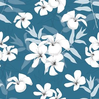 Nahtlose muster frangipaniblumen und eukalyptusblätter auf isolathintergrund
