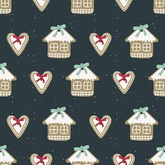 Nahtlose muster frohe weihnachten lebkuchen mit weißer zuckerglasur in form eines herzens und eines hauses mit einer roten schleife. heller festlicher hintergrund. süßigkeiten des neuen jahres.