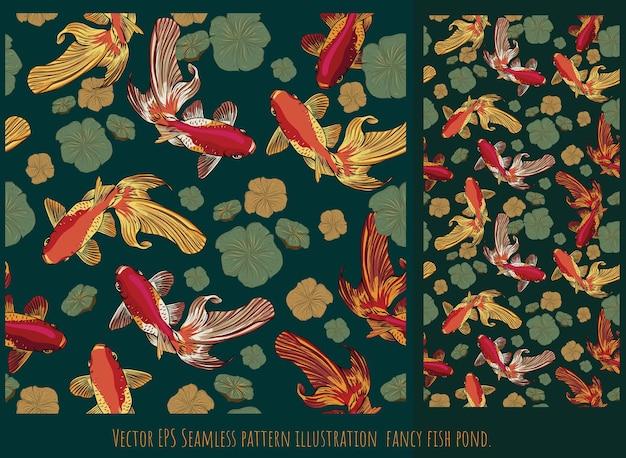 Nahtlose muster gezeichnete illustration handgezeichnete kunst des goldenen fischschwimmens mit lotusblätterteich.