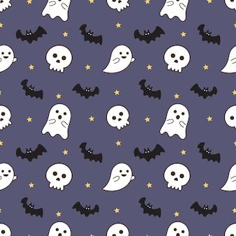 Nahtlose muster glücklich halloween icons isoliert auf lila hintergrund.